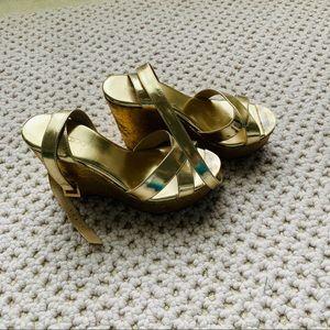 "Jimmy Choo 4"" Platform Gold Leather Sandals Sz 8.5"